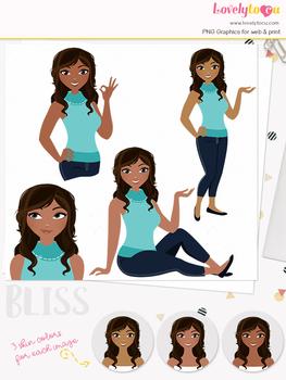Woman teacher character clipart, girl avatar basic pose clip art (Bliss L006)