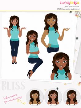 Woman teacher character clipart, girl avatar basic pose clip art (Bliss L007)