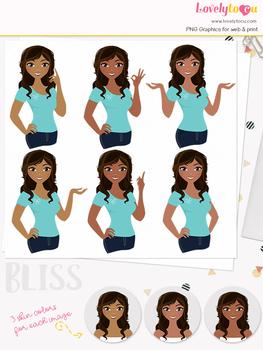 Woman teacher character clipart, girl avatar basic pose clip art (Bliss L008)