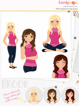 Woman teacher character clipart, girl avatar basic pose clip art (Brook L001)