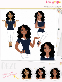 Woman teacher character clipart, girl avatar basic pose clip art (Dezi L039)