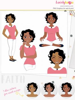 Woman teacher character clipart, girl avatar basic pose clip art (Faith L233)