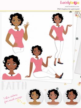 Woman teacher character clipart, girl avatar basic pose clip art (Faith L234)