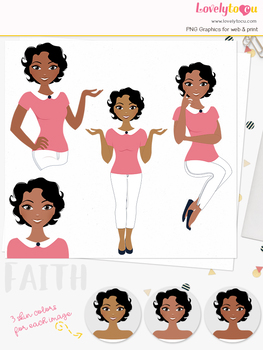 Woman teacher character clipart, girl avatar basic pose clip art (Faith L235)
