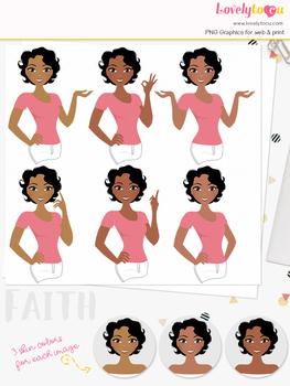 Woman teacher character clipart, girl avatar basic pose clip art (Faith L236)