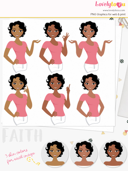Woman teacher character clipart, girl avatar basic pose clip art (Faith L236)