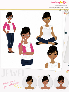 Woman teacher character clipart, girl avatar basic pose clip art (Jewel L021)