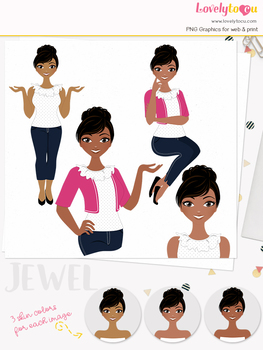 Woman teacher character clipart, girl avatar basic pose clip art (Jewel L023)
