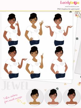 Woman teacher character clipart, girl avatar basic pose clip art (Jewel L024)