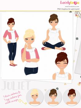 Woman teacher character clipart, girl avatar basic pose clip art (Juliet L017)