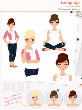 Woman teacher character clipart, girl avatar basic pose clip art (Juliet L017)