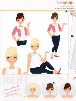 Woman teacher character clipart, girl avatar basic pose clip art (Juliet L018)