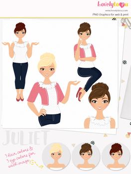 Woman teacher character clipart, girl avatar basic pose clip art (Juliet L019)