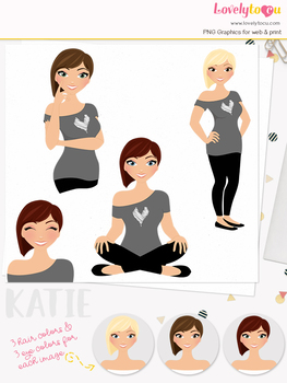 Woman teacher character clipart, girl avatar basic pose clip art (Katie L221)