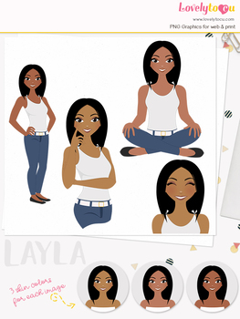 Woman teacher character clipart, girl avatar basic pose clip art (Layla L045)