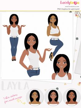 Woman teacher character clipart, girl avatar basic pose clip art (Layla L047)