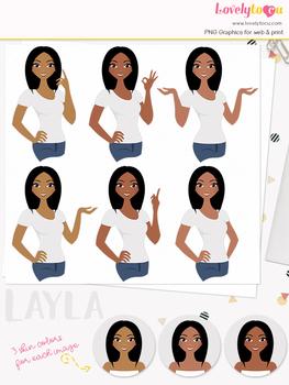 Woman teacher character clipart, girl avatar basic pose clip art (Layla L048)