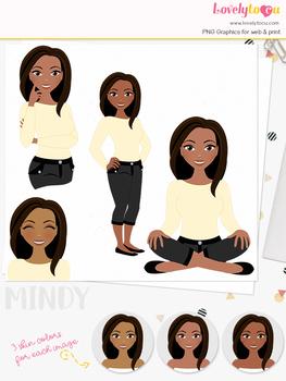 Woman teacher character clipart, girl avatar basic pose clip art (Mindy L209)