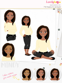 Woman teacher character clipart, girl avatar basic pose cl