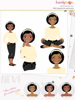 Woman teacher character clipart, girl avatar basic pose clip art (Neve L013)
