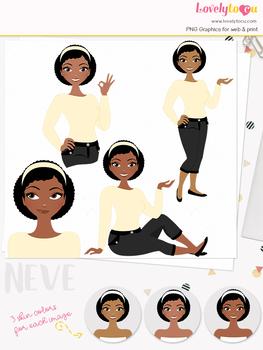 Woman teacher character clipart, girl avatar basic pose clip art (Neve L014)