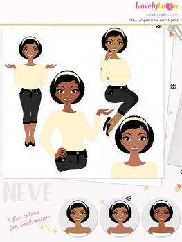 Woman teacher character clipart, girl avatar basic pose clip art (Neve L015)