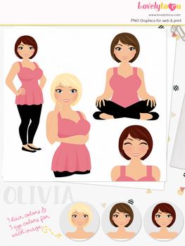 Woman teacher character clipart, girl avatar basic pose clip art (Olivia L253)