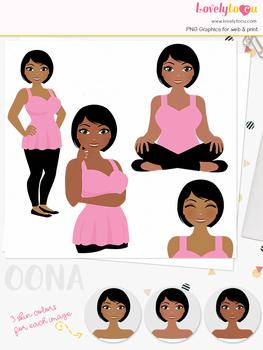 Woman teacher character clipart, girl avatar basic pose clip art (Oona L257)