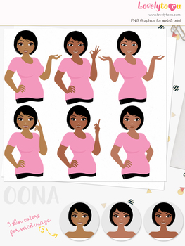 Woman teacher character clipart, girl avatar basic pose clip art (Oona L260)