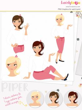 Woman teacher character clipart, girl avatar basic pose clip art (Piper L050)