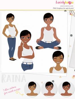 Woman teacher character clipart, girl avatar basic pose clip art (Raina L241)