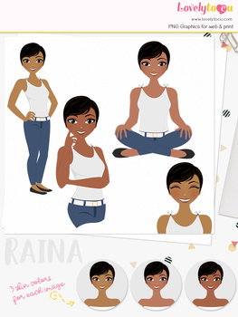 Woman teacher character clipart, girl avatar basic pose clip art (Raina L241)