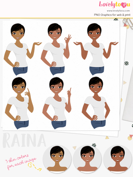 Woman teacher character clipart, girl avatar basic pose clip art (Raina L244)