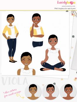 Woman teacher character clipart, girl avatar basic pose clip art (Viola L217)