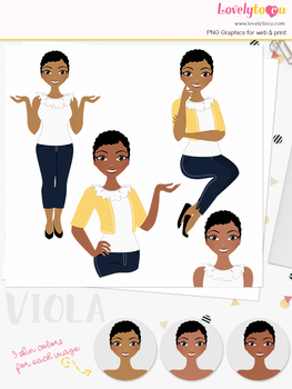 Woman teacher character clipart, girl avatar basic pose clip art (Viola L219)