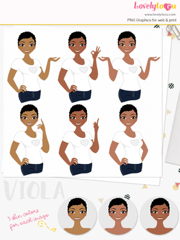 Woman teacher character clipart, girl avatar basic pose clip art (Viola L220)
