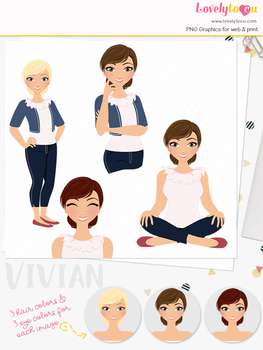 Woman teacher character clipart, girl avatar basic pose clip art (Vivian L213)