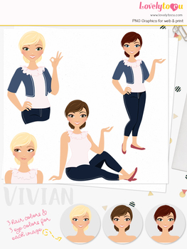 Woman teacher character clipart, girl avatar basic pose clip art (Vivian L214)