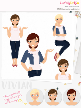 Woman teacher character clipart, girl avatar basic pose clip art (Vivian L215)