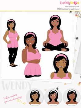 Woman teacher character clipart, girl avatar basic pose clip art (Wendy L061)
