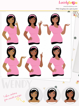 Woman teacher character clipart, girl avatar basic pose clip art (Wendy L064)