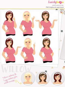 Woman teacher character clipart, girl avatar basic pose clip art (Willow L060)