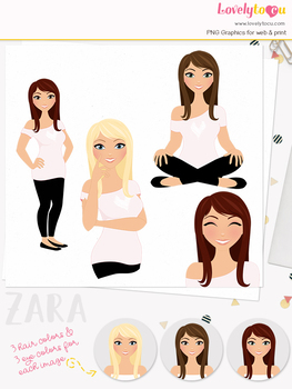 Woman teacher character clipart, girl avatar basic pose clip art (Zara L025)