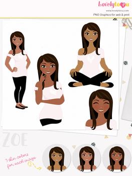Woman teacher character clipart, girl avatar basic pose clip art (Zoe L029)