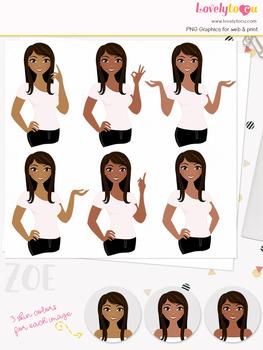 Woman teacher character clipart, girl avatar basic pose clip art (Zoe L032)