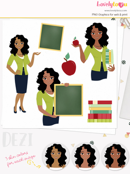 Woman teacher character clipart, girl avatar school clip art (Dezi L074)