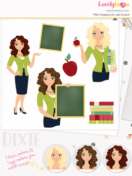Woman teacher character clipart, girl avatar school clip art (Dixie L073)