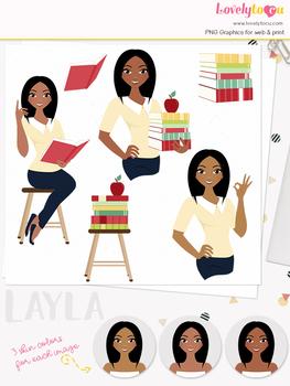 Woman teacher character clipart, girl avatar school clip art (Layla L076)