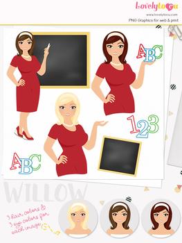 Woman teacher character clipart, girl avatar school clip art (Olivia L079)
