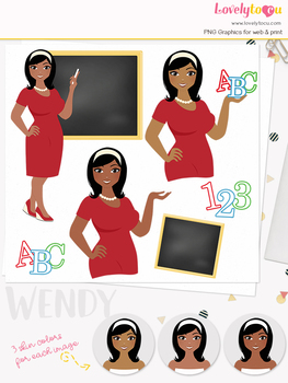 Woman teacher character clipart, girl avatar school clip art (Oona L080)